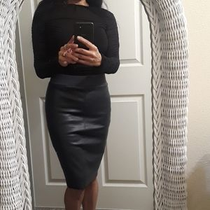 Bailey 44 Faux Leather/Ponte Knit Pencil Skirt